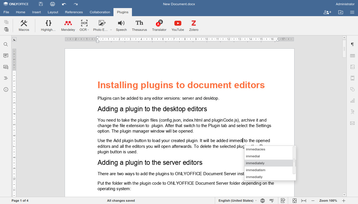 Autocomplete for ONLYOFFICE Documents