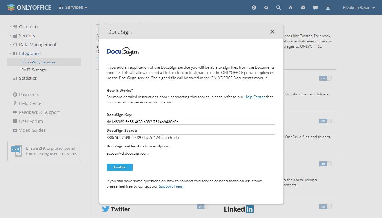 Enable DocuSign in ONLYOFFICE