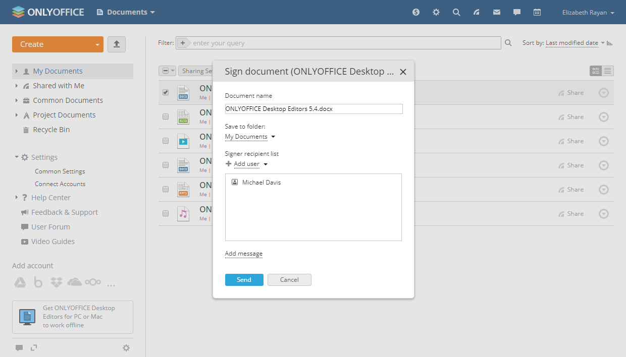 Sign ONLYOFFICE docs with DocuSign