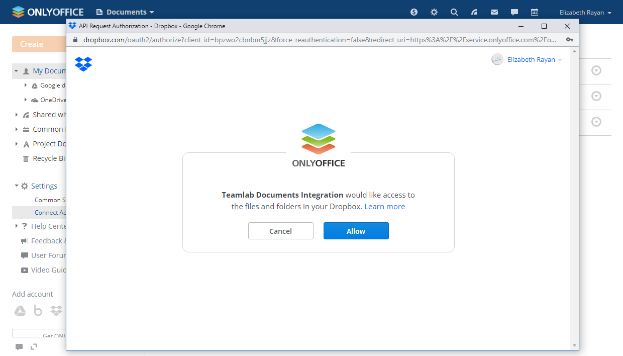 Allow ONLYOFFICE to access your Dropbox files