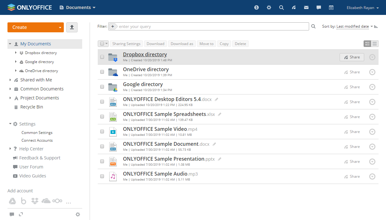 Dropbox directory in ONLYOFFICE