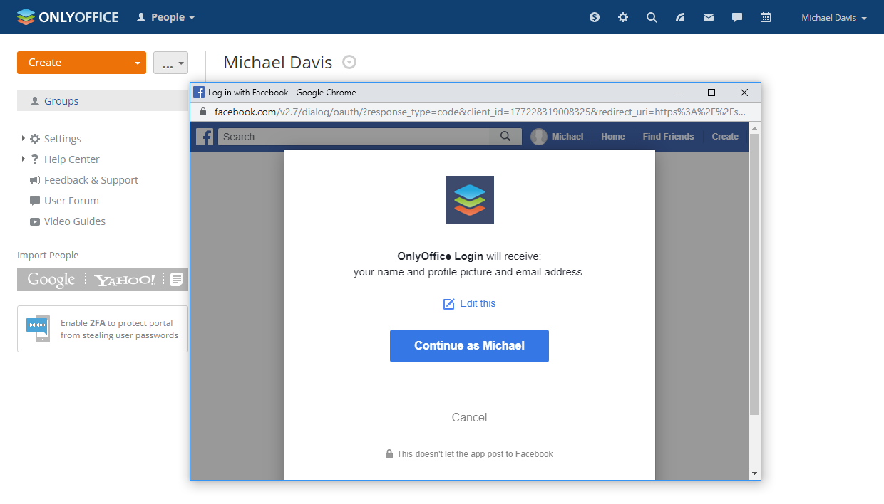 Log in to ONLYOFFICE using Facebook
