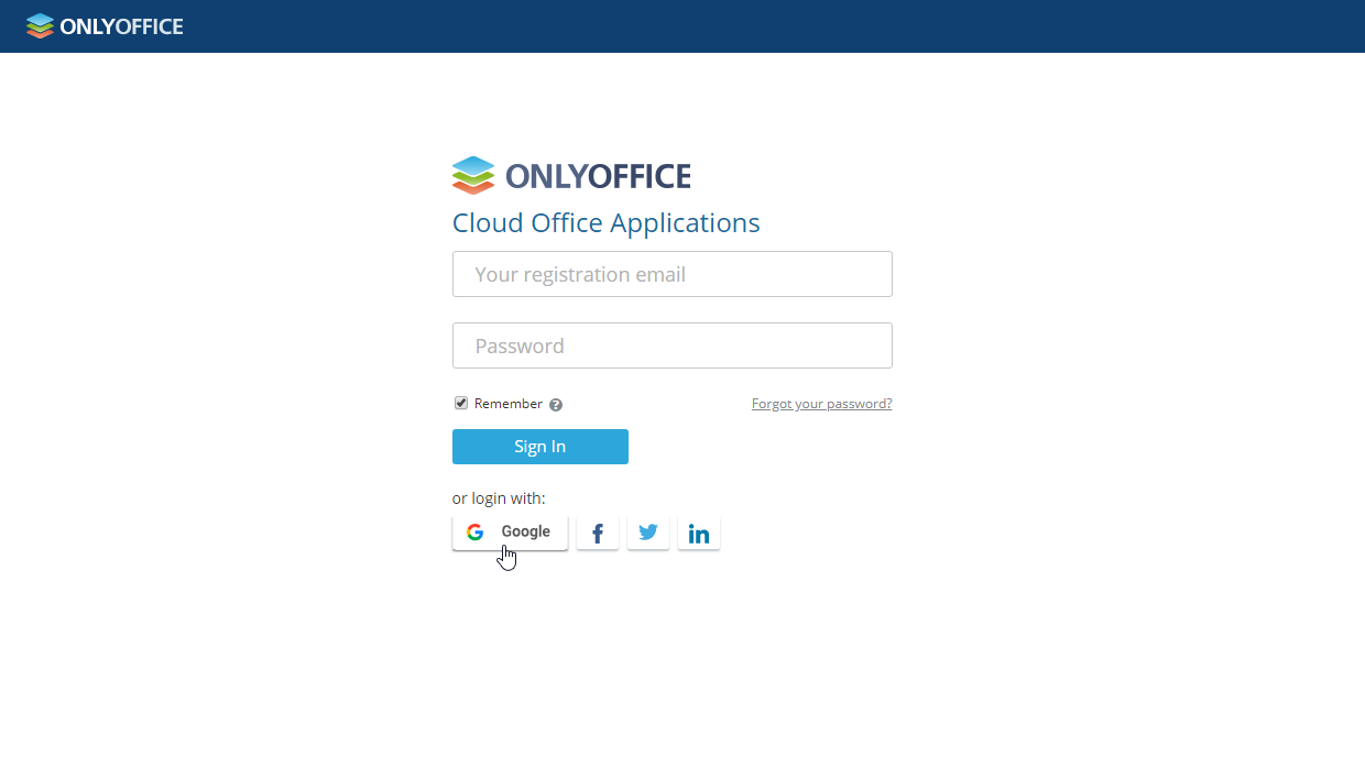 Log in to ONLYOFFICE using Google