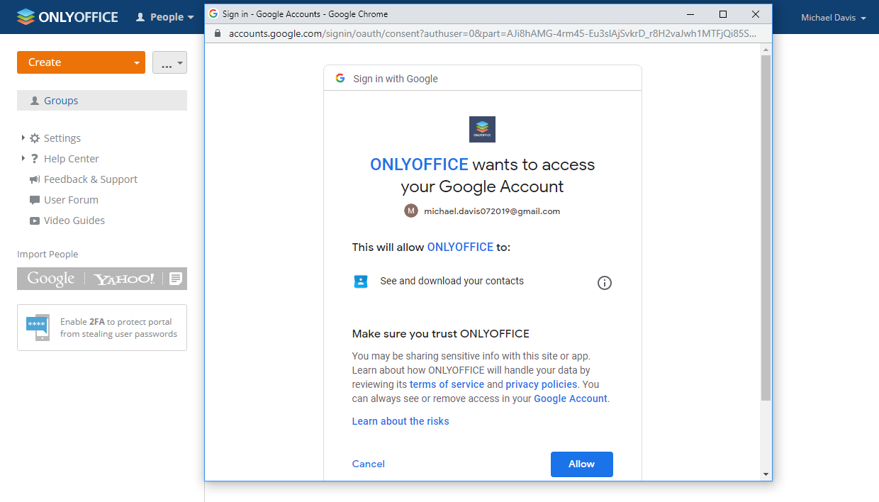 Allow ONLYOFFICE to access Google contacts