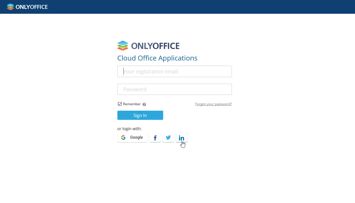 Sign in to ONLYOFFICE using LinkedIn