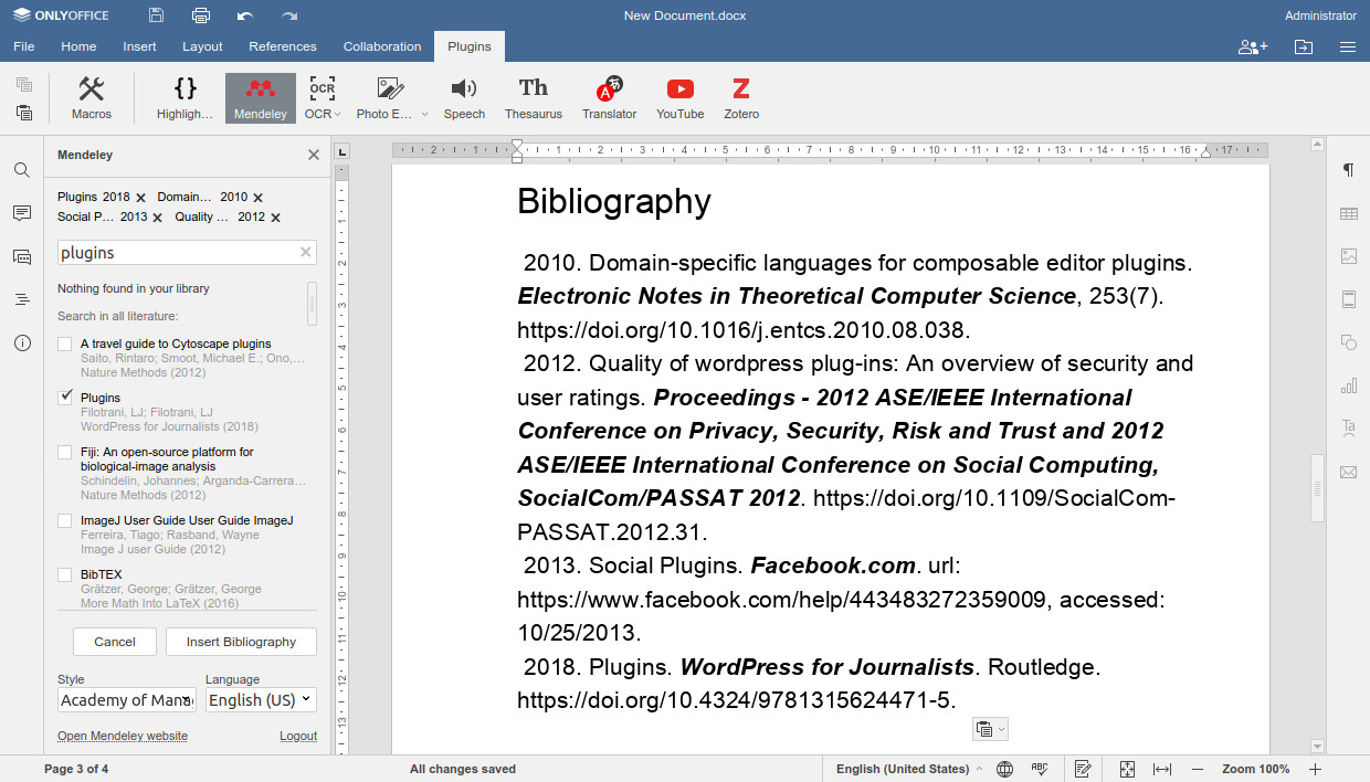 Mendeley for ONLYOFFICE Documents