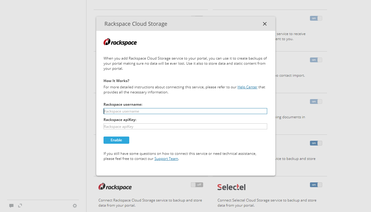 Use Rackspace for backups in ONLYOFFICE