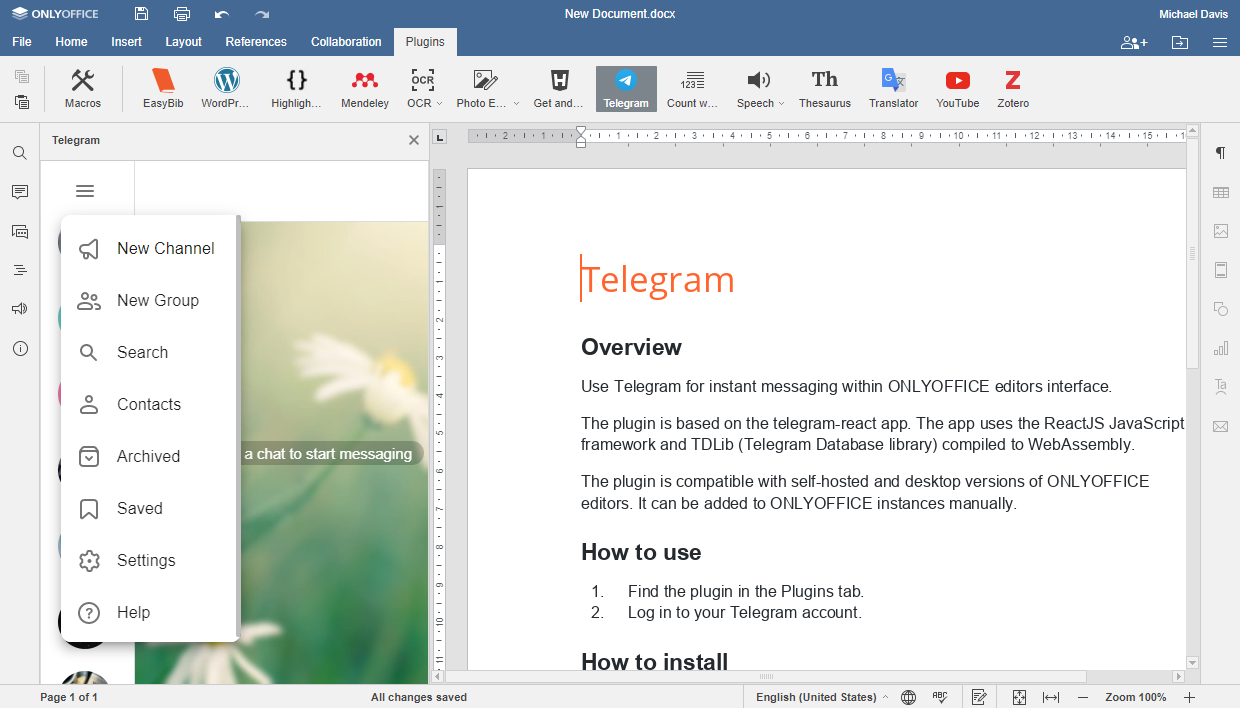 Telegram plugin for ONLYOFFICE Docs