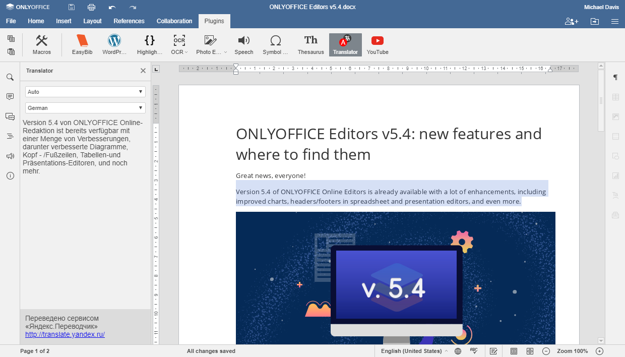 Plugin for quick translation in ONLYOFFICE editors