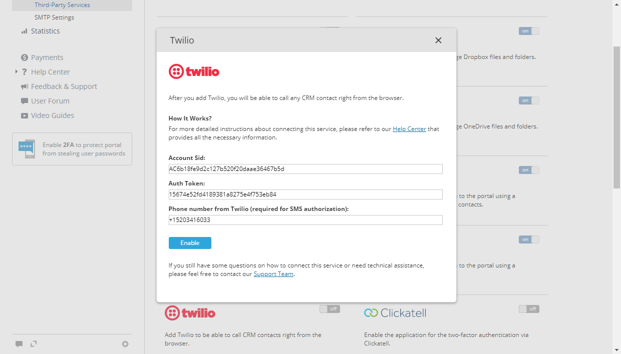 ONLYOFFICE - Twilio settings