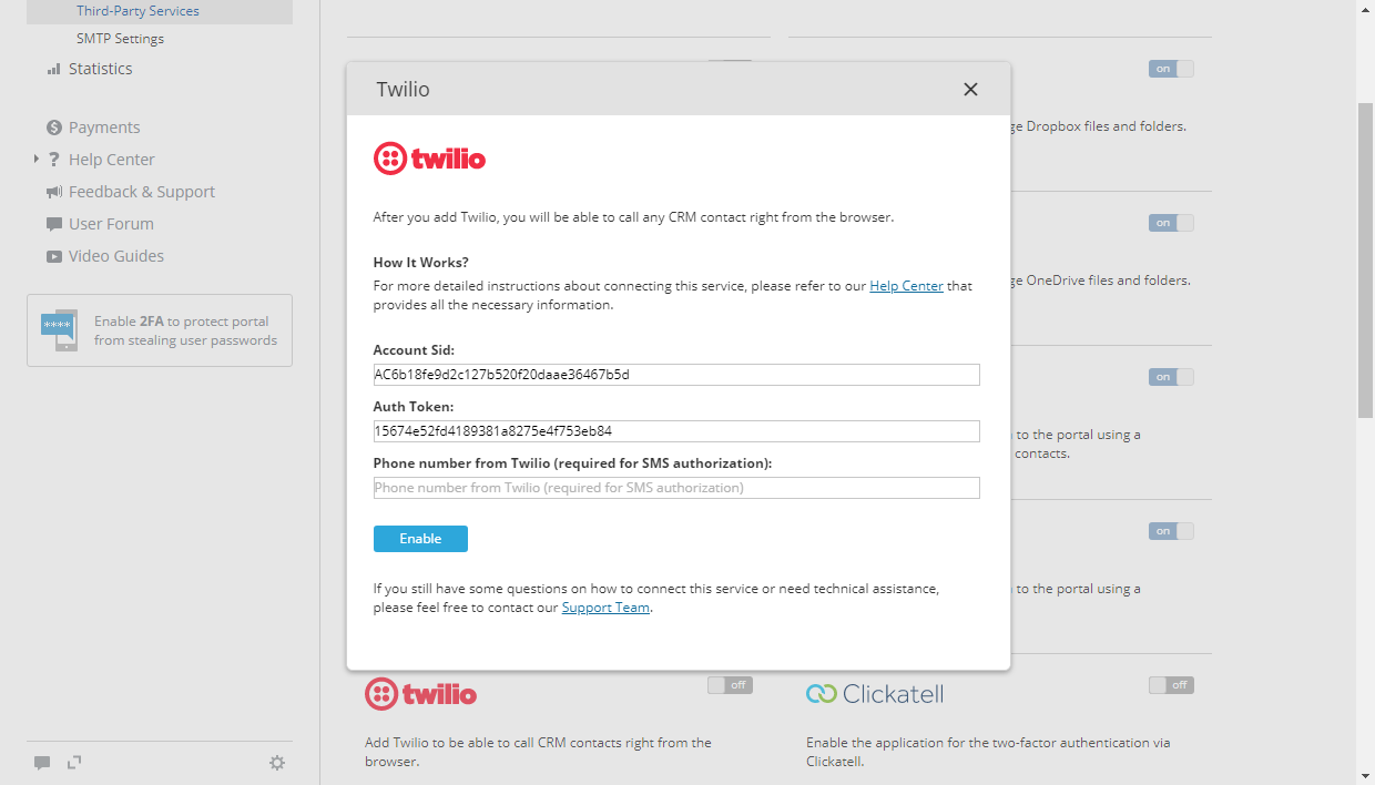 Twilio for ONLYOFFICE CRM