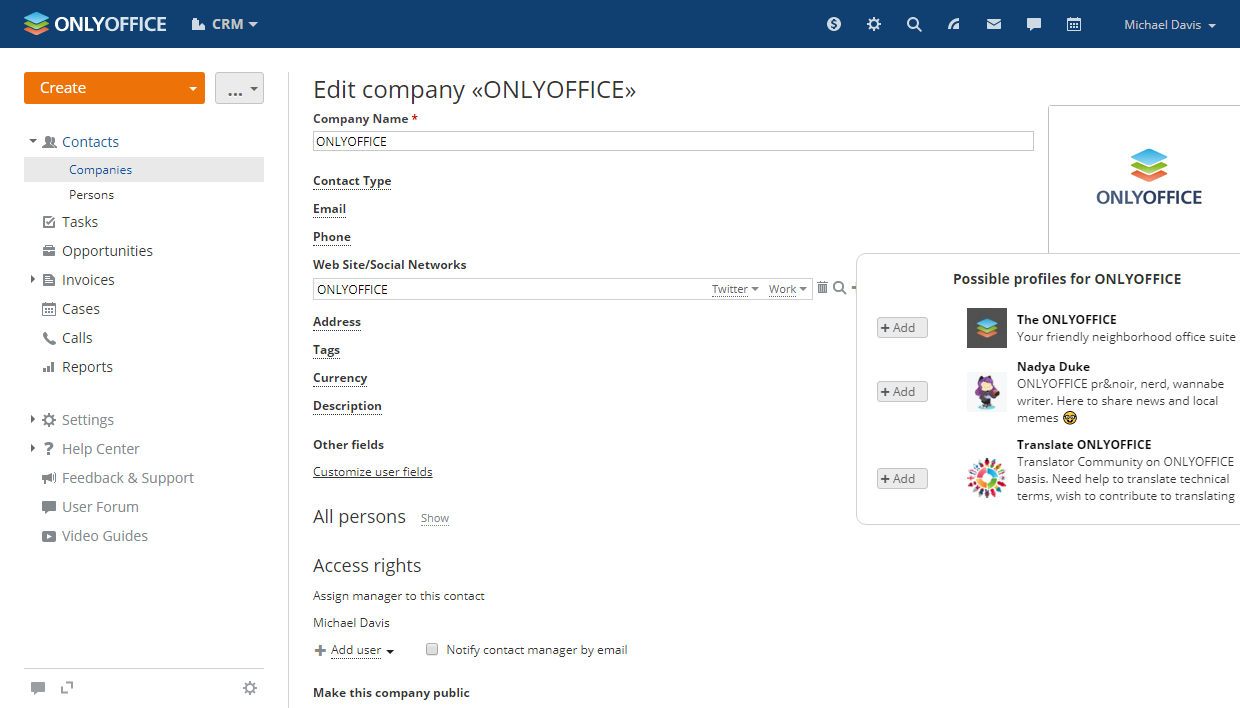 Follow your customer's Twitter from ONLYOFFICE CRM