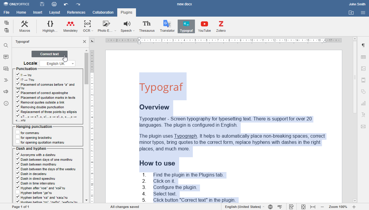 Typograf plugin for ONLYOFFICE Docs