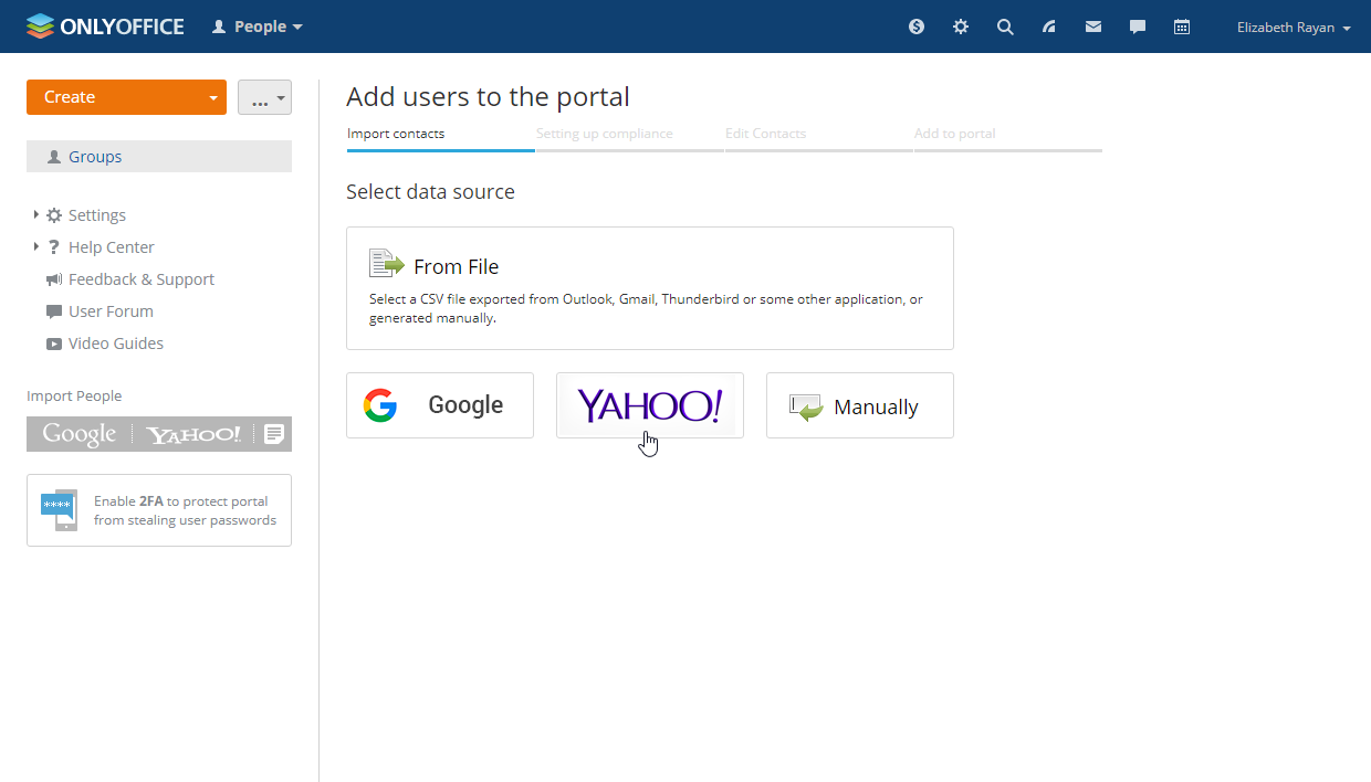 Use Yahoo to import new users to ONLYOFFICE