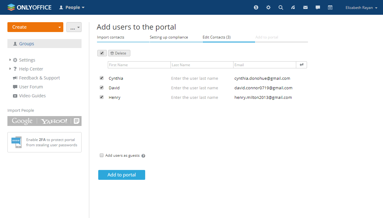 Connect ONLYOFFICE to Yahoo to easily import people